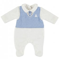 Baby Boys All In One Blue Romper  With Vest And Tie