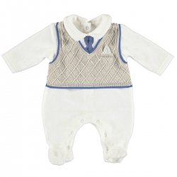 Baby Boys All In One Ivory Romper  With Vest And Tie