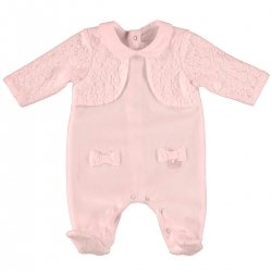 Mayoral Baby Girls Pink All In One Footed Romper With Cardigan