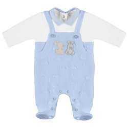 Mayoral Baby Boys All In One Footed Blue White Dungarees Romper