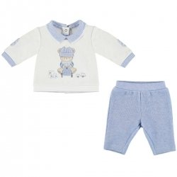 Mayoral Baby Boys White Blue Top And Trousers Outfit
