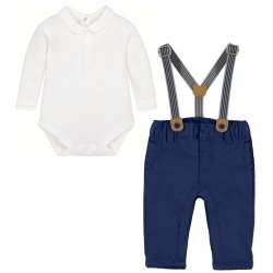 Mayoral Baby Boys Ivory Polo Bodysuit Navy Braces Trousers Set