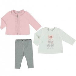 Mayoral Baby Girls White Pink Grey 3 Pieces Set