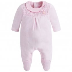 Mayoral Baby Girls Pink Lace Bow Romper