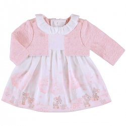 Mayoral Baby Girls Pink Dress In Baby Deer Print With Mock Cardigan