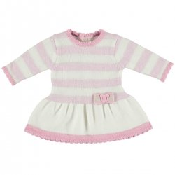 Mayoral Baby Girls Knitted Ivory Pink Stripes Dress