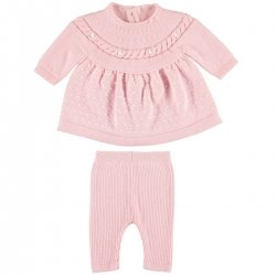 Mayoral Baby Girls Pink Knitted Dress And Leggings Set