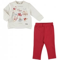 Mayoral Baby Girls White Pullover and Red Trousers Set