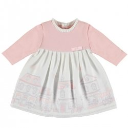 Mayoral Baby Girls Pink Ivory Ponte Print Dress