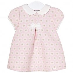 Mayoral Baby Girls Pink White Blossom Jacquard Dress