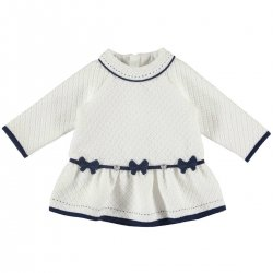 Mayoral Baby Girls Ivory Navy Dress