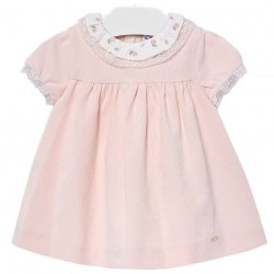 Mayoral Baby Girls Fine Corduroy Pink Dress Embroidered Collar