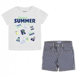 Mayoral Boys Enjoy Summer White T Shirt And Navy Stripes Shorts Set