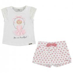 Sale Mayoral Girls Beautiful Top And Pink Polka Dots Shorts Set