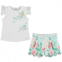 Sale Mayoral Girls Beautiful Ivory Floral Top And Floral Shorts Set
