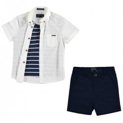 Mayoral Boys Smart Outfit In White Shirt Navy Shorts