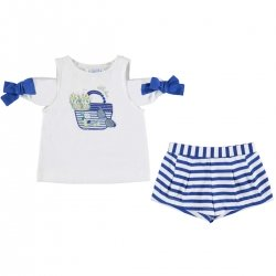 Mayoral Girls Cold Shoulder White T Shirt Blue Stripes Shorts Set