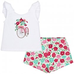 Mayoral Girls Cycle Floral Print White Top Floral Shorts Set