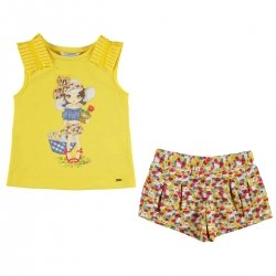 Mayoral Girls Lemon Top Doll Print Red Yellow Floral Shorts Set