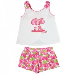 Mayoral Girls Summer White Top And Red Cherries Shorts Set