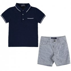 Mayoral Boys Smart Navy Polo Stripes Shorts Outfit