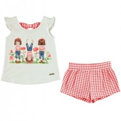 Sale Mayoral Girls Off White Top Red Gingham Shorts Set