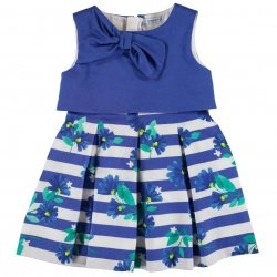 Mayoral Girls Royal Blue And White Stripes Dress