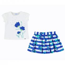 Mayoral Girls Embroidered White Top Blue Floral Stripes Skirt Set