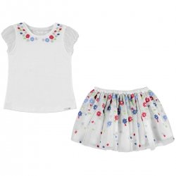 Mayoral Girls Beautiful White Top Skirt Set Decorated By Flowers