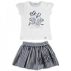 Mayoral Girls Summer White Top Navy Stripes Set