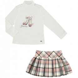 Mayoral Girls Ivory Top Pink Checks Skirt Set