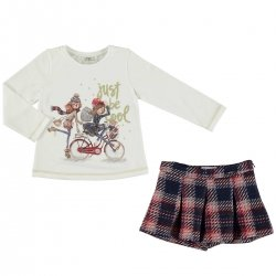 Mayoral Girls Ivory Top Navy Tartan Skorts Set