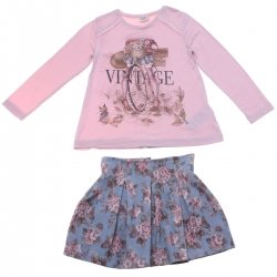 Sale Mayoral Girls Pink Blue Vintage Floral Skirt Set