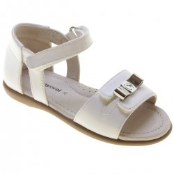 Mayoral Girls White Patent Sandals In Leather