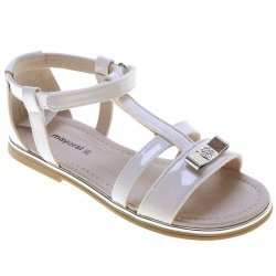 Mayoral Girls White T Bar Patent Sandals In Leather