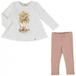 Mayoral Girls Long Sleeved Ballerina Top And Pink Leggings Set