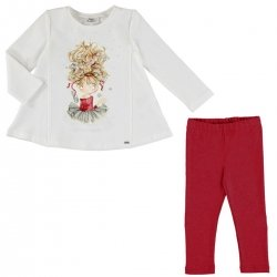 Mayoral Girls Long Sleeved Ballerina Top And Red Leggings Set