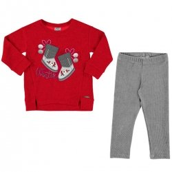 Mayoral Girls Long Sleeved Red Top And Grey Leggings Set