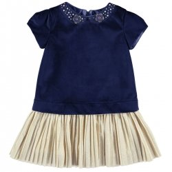 Mayoral Girls Navy Velvet Dress Diamante Decorated Collar