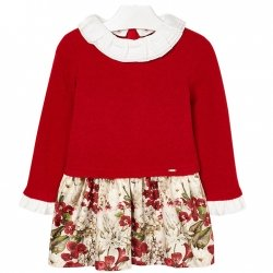 Mayoral Girls Red Floral Dress White Frilly Collar