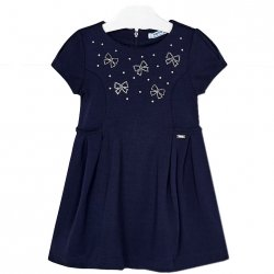 Mayoral Girls Elegant Navy Dress With Diamante Bows