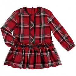 Mayoral Girls Red Tartan Dress Frilly Waist Pleated