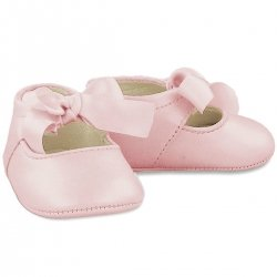 Baby Girls Pink Faux Leather Ribbon Pram Shoes
