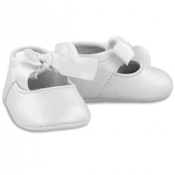 Baby Girls White Faux Leather Ribbon Pram Shoes