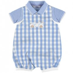 Sale Summery Mayoral Baby Boys Blue Gingham Dungarees Polo Set