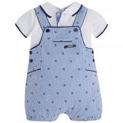 Summery Mayoral Baby Boys White Polo Navy Stripes Dungarees