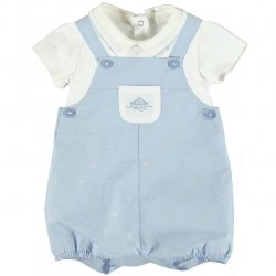 Mayoral Baby Boys White Shirt Blue Boat Dungarees Outfit
