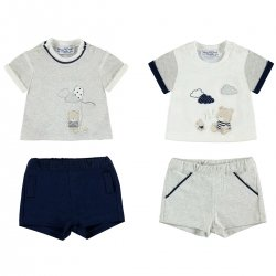 Sale Mayoral Baby Boys Grey Navy T Shirts And Shorts Set 2 Pack