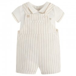 Sale Mayoral Baby Boys Ivory Brown Stripes Dungarees Outfit
