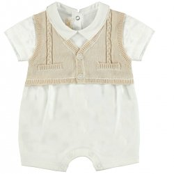 Sale Baby Boys Ivory Brown Smart Romper Outfit